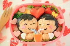 A lunch for two, tuck into this adorable lovers bento. Bento Recipes, Lunch Box Recipes, Baby Food Recipes, Bento Ideas, Lunchbox Ideas, Cute Bento Boxes, Bento Box Lunch, Box Lunches, School Lunches