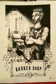 Amazing illustration inspired with shades to black pencils. Barber in his shop. Artist: Sara Rintuzzi.