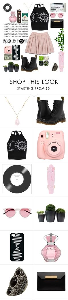 """""""thunderstorms"""" by intheskyxx ❤ liked on Polyvore featuring White House Black Market, Dr. Martens, Boohoo, Grace, Polaroid, Illesteva and Balenciaga"""