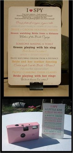 Wedding Entertainment Idea - Must encourage photo taking. Dad would approve!!