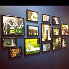 Wall collage of wedding pictures.