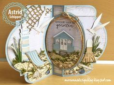 Great example of creating depth! 3d Cards, Pop Up Cards, Fancy Fold Cards, Folded Cards, Marianne Design Cards, Nautical Cards, Beach Cards, Step Cards, Shaped Cards