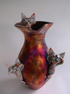 Naughty Cats and kittens Raku Pottery by Roundtreepottery on Etsy, $180.00