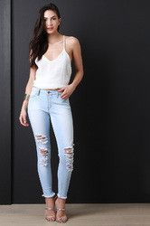 Distressed Light Stone Wash Low Rise Jeans