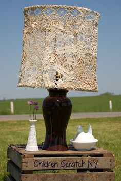Chicken Scratch: Doily Covered Lampshade - OMG this is ideal for my master bed room.... ooooooo or main room