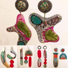 Cuál invierno? Locura, color y exceso en @casakiro . Jugando como niña! Resin, ink, enamel, silver. Handpainted earrings. Casa Kiro Joyas 2017. Vania Ruiz