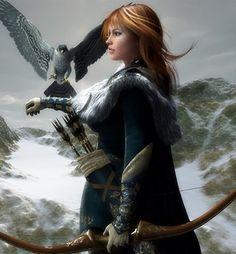 Art by Melissa Krauss - Human archer with falcon companion