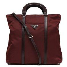39a79c6db Prada Burgundy Red Tessuto Nylon Leather Shopping Tote Bag Shoulder Handbag  1BG057 #bolsa #bolso