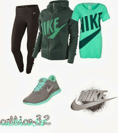 Adorable ladies green and grey mix Nike outfits   Fashion World