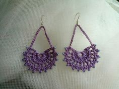 crochet earrings Using fan pattern from bookmark on Ravelry