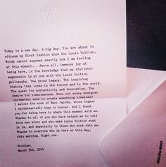 Today's Inspiration: Nicolas Ghesquiere's Letter at Louis Vuitton