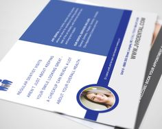 Post Card flyer for a Langley, BC Dental Clinic - JVR Dental. We stuck with their existing brand elements but updated the overall design to a more modern, contemporary look.