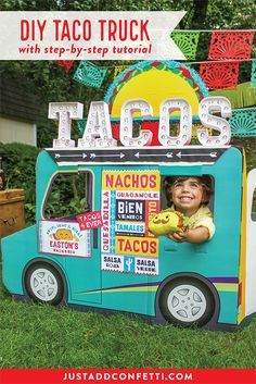 Taco 'bout fun! This Taco Truck Birthday Party is full of so many cute ideas like the DIY Taco Truck playhouse and a complete set of FREE party printables. #partyprintables #tacotruck #JustAddConfetti #freeprintables #tacobout #Fun365 #OrientalTrading
