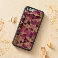 Pink Purple Retro Abstract Triangle Mosaic Pattern Carved® Walnut iPhone 6 Bumper