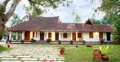 Home Plans Kerala. House Design and Floor Plans. House Plan and Elevation Photos from Kerala. Latest Home Style Ideas. Room Decoration ideas and Inspiration. Kerala Traditional House, Traditional House Plans, Traditional Decor, Traditional Homes, Indian Home Design, Kerala House Design, Courtyard House, Spanish Courtyard, Old Home Remodel