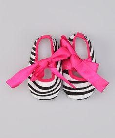 Hot Pink Zebra Stripe Mary Jane