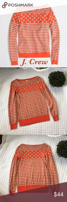 """J. Crew Factory Warm-spun Intarsia Sweater Gently used, in excellent condition! No stains, holes or rips! Hits at hip, boatneck, viscose/nylon/merino wool in Tangerine and gray color. Hand wash. I don't see the size but I believe it's a small. Lying flat it measures 24"""" in total length 15"""" across and the sleeves measure 24"""". All of my items come from a clean smoke-free home! Please let me know if you have any questions and check my closet for many more items, including more J. Crew! Save…"""