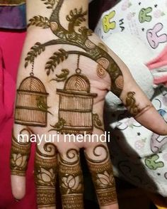 well, it's not as if I don't have real birds & birdcages for inspo. Peacock Mehndi Designs, Indian Mehndi Designs, Mehndi Designs Book, Mehndi Designs 2018, Mehndi Design Pictures, Modern Mehndi Designs, Wedding Mehndi Designs, Beautiful Henna Designs, Mehndi Designs For Fingers