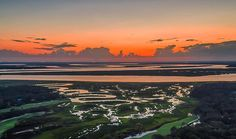 Sunset over the marsh of Amelia Island Photo by @tourdedrone  #sunset #marsh #wetlands #island #ameliaisland #florida #travel