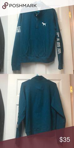 🔥MAKE OFFERS🔥 Victoria Secret Pink Half Zip Gorgeous half zip. Great condition. No tags. Greenish/blue dark teal PINK Victoria's Secret Tops Sweatshirts & Hoodies