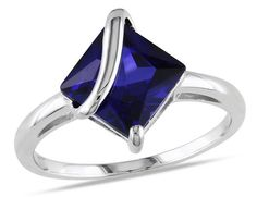 Created Sapphire Ring 1.80 Carat (ctw) in Stelring Silver