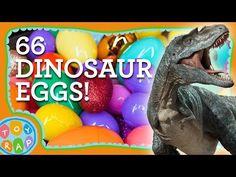 66 Dinosaur Giant Surprise Eggs! Slugterra Star Wars Disney Cars Shopkins Harry Potter ToyRap - YouTube