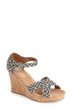 TOMS Canvas Woven Geometric Print Wedge Sandal (Women) available at #Nordstrom