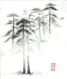 "Original Sumi-e Paintings ""Pine trees in fog"" - Set of 2 - Japanese art - Wall decor - ink wash - bamboo brash on Etsy, $199.00"