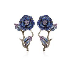 Lydia Courteille 18K Yellow Gold To Cassandra Earrings With Fancy... ($21,200) ❤ liked on Polyvore featuring jewelry, earrings, blue multi, gold sapphire earrings, gold earrings, sapphire earrings, 18 karat gold earrings and 18k earrings