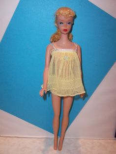 Vintage Reproduction Brunette Ponytail Barbie w//Pearl Necklace//Straight Arms!