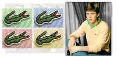 "Izod (Lacoste) shirts with the alligator logo sewn on them were super popular in the early 80's. No ""Preppy"" would be caught without one!"