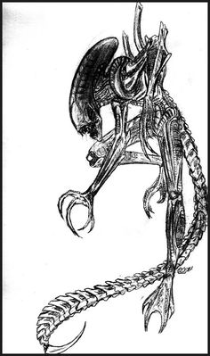 I drew this hanging out at a club called the Cherry Pit. Original Alien design by H.R. Giger, and Alien is owned by 20th Century Fox.