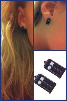 Tardis earrings! I really don't know what board to pin this on, but OMG.
