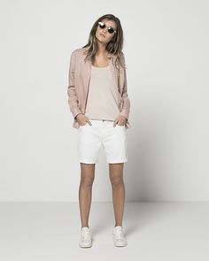 Super Fine Lightweight Linen Classic Shirt (Blush) Lurex Cutaway Tank (Rose Quartz) Boyfriend Short (White)