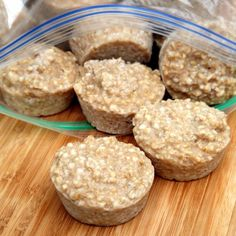 Frozen Steel-Cut Oatmeal  -  prepare steel cut oatmeal, put it into muffin tins, and freeze it.  then pop the individual oatmeal pucks out of the muffin tin, put them in a ziplock bag, and grab one or two and heat up whenever you want oatmeal for breakfast, a hearty snack, or any meal.  top with whatever sounds good.  easy, frugal, convenient.  healthy, adjust prn.  remember, keep, want.   lj