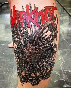 Amazing-Goat-Head-With-Skulls-Slipknot-Tattoo-On-Leg.jpg (500×625)