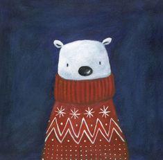 I ❤ my polar bear Polar Bear Illustration, Winter Illustration, Christmas Illustration, Polar Bear Paint, Polar Bear Drawing, Polar Bear Cartoon, Polar Bears, Christmas Poster, Christmas Mood
