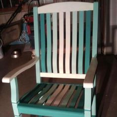Annie Sloan chalk paint, Florence and Old White....10 year old porch rocker