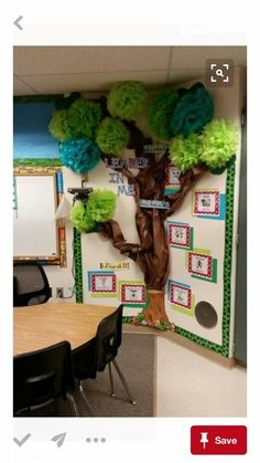 Leader in me tree. Use paper and pom poms from party city. End Of The Year Camping Theme Classroom Tree, Classroom Setting, Classroom Setup, Classroom Design, Future Classroom, Classroom Organization, Theme Nature, Deco Nature, Preschool Rooms