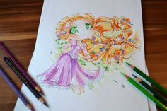 I just love that braid! From the first time I saw it I needed to draw it xDSo here is my new version of Rapunzel! (The old one was kind of scary xD) Chibi Rapunzel Chibi Disney, Disney Rapunzel, Disney And Dreamworks, Disney Kunst, Arte Disney, Disney Fan Art, Disney Princess Drawings, Disney Drawings, Cute Drawings