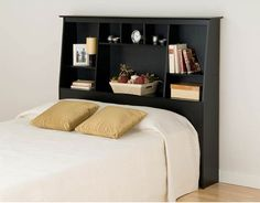 "Sonoma Tall Double/Queen Storage Headboard (Black) (55.75""H x 65.75""W – Harvey & Haley"