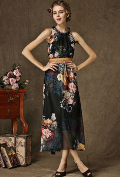 Black Sleeveless Floral Chiffon Maxi Dress pictures