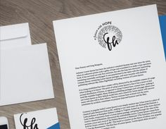 brand identity mock-up for a stewardship campaign. Women lead small business. Logo and marketing collateral. Letterhead and envelope design.