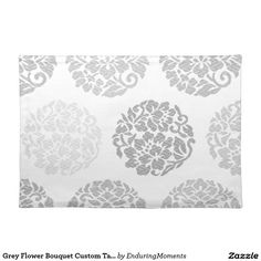 Grey Flower Bouquet Custom Table Placemats