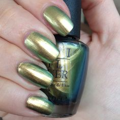 OPI: Just Spotted The Lizard- I'm not a huge duochrome fan, but this one really does have a nice green to gold color shift