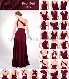 Long infinity dress in BEET RED shiny, FULL Free-Style Dress, maxi convertible…