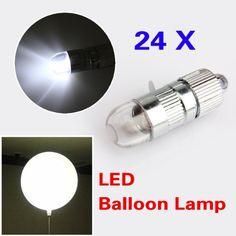 VKTECH® Lot de 24 lumières LED pour lanternes en papier en forme de ballons Blanc