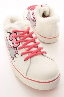 036098569661 White Faux Fur Hello Kitty Sneaker Flats