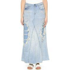 Scotch & Soda/Maison Scotch Long Denim Skirt ($125) ❤ liked on Polyvore featuring skirts, benblueblue vintage, blue maxi skirt, long denim maxi skirt, denim maxi skirt, long maxi skirts and long blue skirt