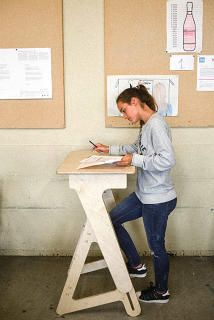A Standing Desk For Kids, To Help Change Sitting Culture (There's An Adult Size… Classroom Furniture, School Furniture, Modular Table, Desk Stool, School Tool, School Desks, Kid Desk, Wooden Desk, Desk Storage